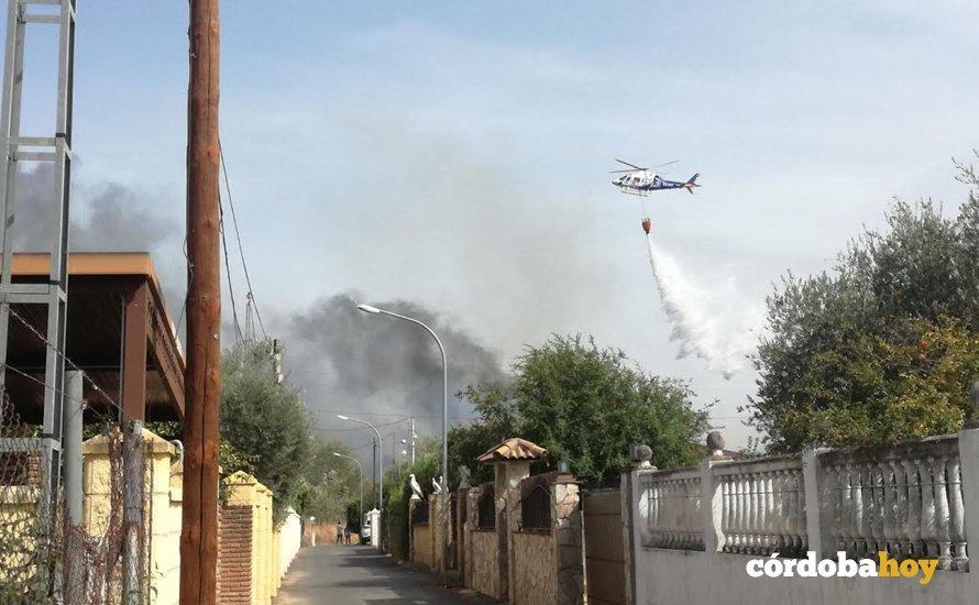 Helicóptero actuando en Alcolea