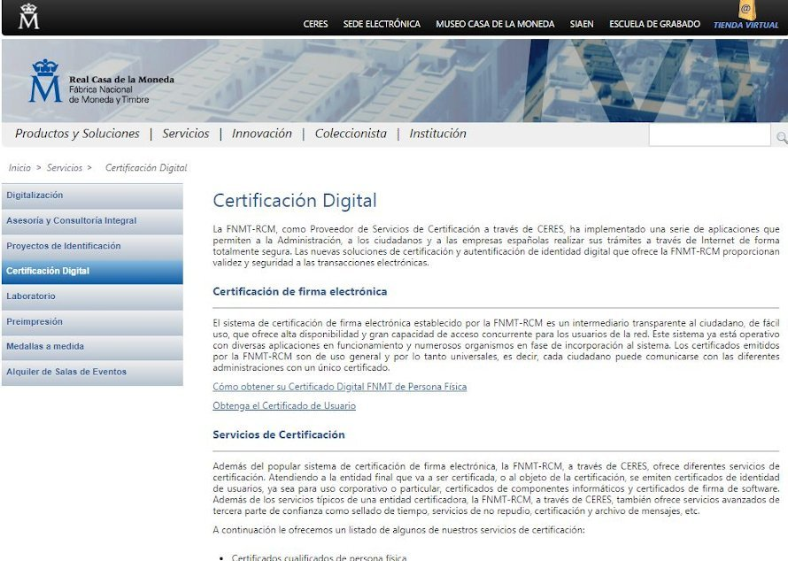 Solicitar un certificado digital